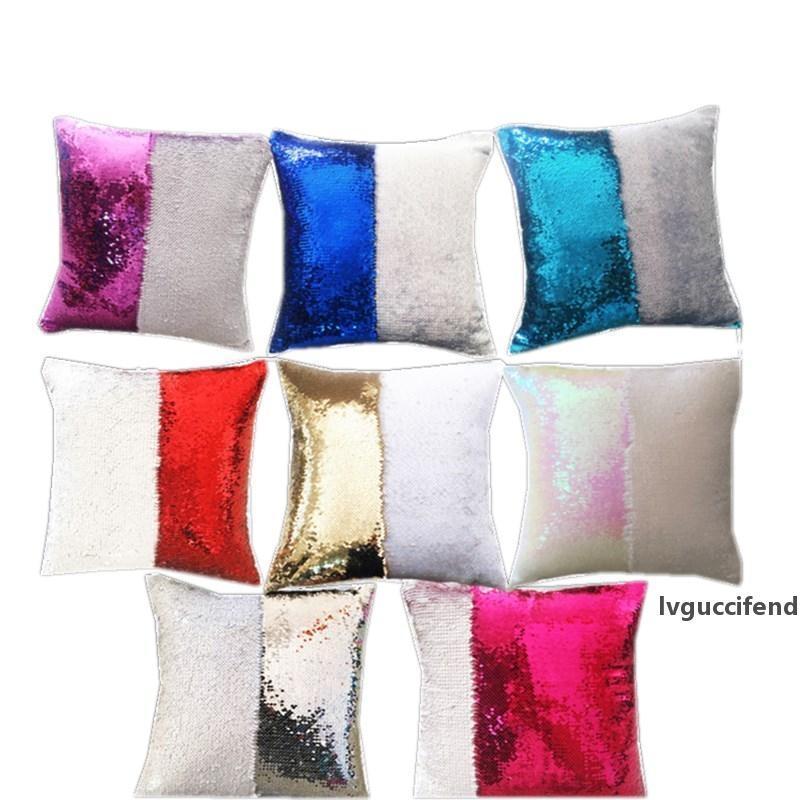 11color brillo lentejuelas cojín cobertizo sirena cubierta de almohada 40 * 40 cm Tiro de funda de almohada Coche de la almohada de la decoración del sofá del coche