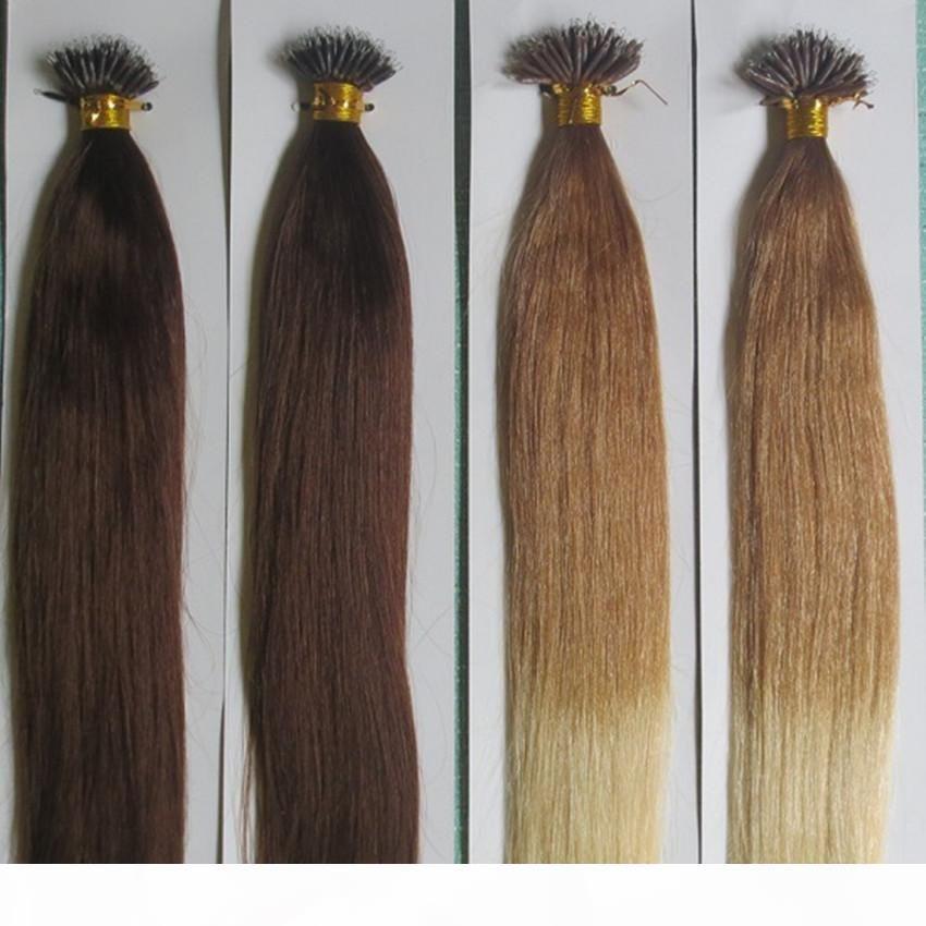 Grade 9A--100% Human Hair Nano ring Straight Hair extension 1g strand&100s Lot, 7Colors for choice, free dhl