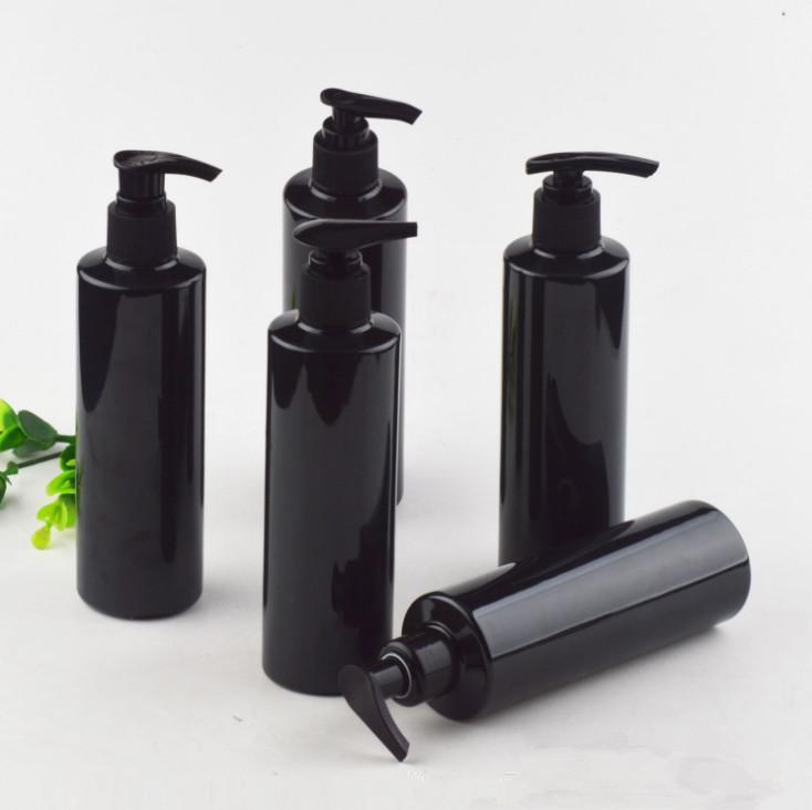 100 adet 250 ml plastik pompalı parlak siyah pet şişe. Losyon için / el yıkama / şampuan / nemlendirici / yüz su pet konteyner