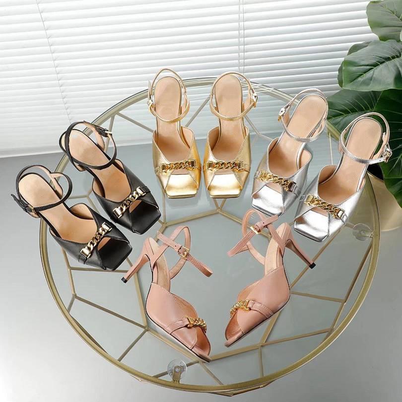 GUCCI Sandálias femininas High Heel Designers Crie Sandálias Casuais de Alta Qualidade Praia disponível em uma variedade de cores 3E42