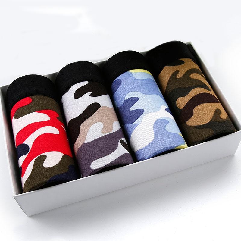 Mutandine Mens 4pcs \ Lotto maschio Modal Underwear Underwear Boxer Traspirante Stampa Pantaloncini flessibili Boxer Plus Size Merdesanti X1116
