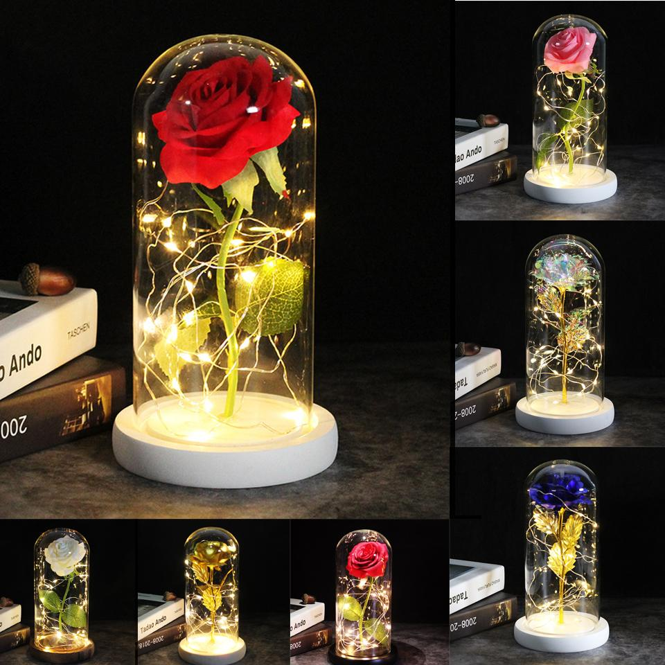 Envío de gota Galaxy Rose Rose Flores artificiales 24k Foil Patted Gold Rose Flowers Decoración de la boda Creativa Día de San Valentín Regalo Q1123