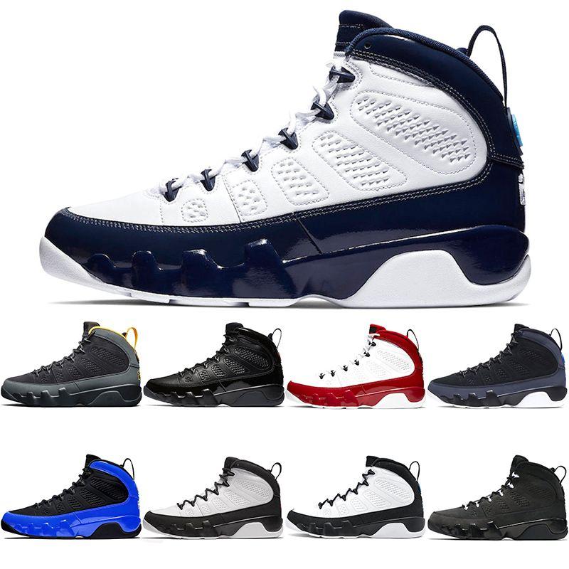 9 Jumpman bon marché Hommes Basketball Chaussures 9S Entraîneur Baskets University Gold Anthracite Bred Gym Gym Space Rouge Sciendante Scorf