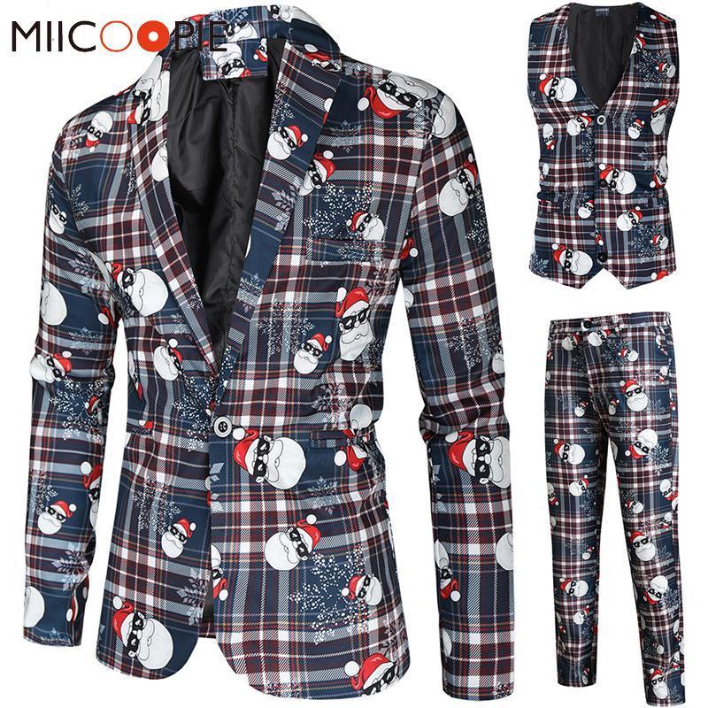 Herrenanzüge Blazer Santa Claus Drucken Weihnachten 3 Stück Blazer Weste Hosen Mode Ein Breasted Slim Mens Striped Anzug Set Terno Mascu