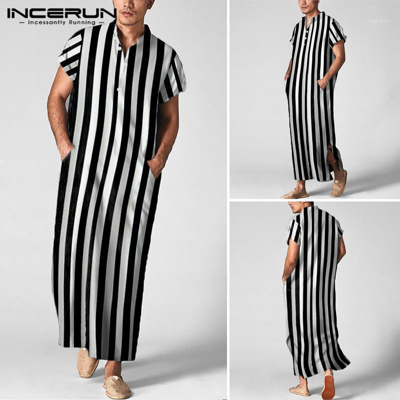 Incerun Man Kısa Kollu Standı Yaka Müslüman Kaftan Cornes Erkekler Çizgili Uzun Gömlek Vintaj Uzun Tops Giyim S-5XL71