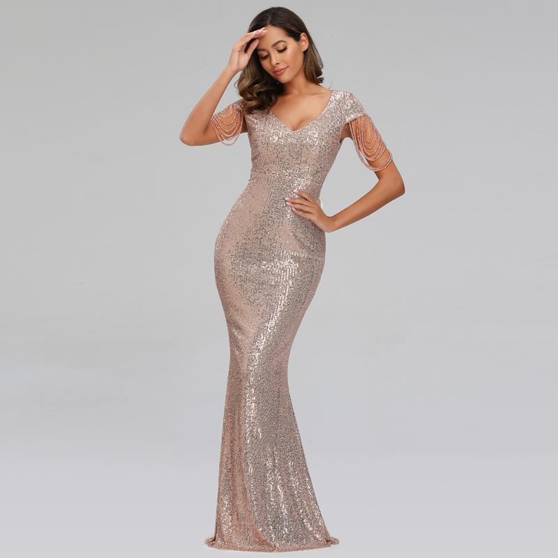 YIDINGZS New Mulheres Sequins Vestido Longo elegante decote em V Beading Party Dress YD9663 201119