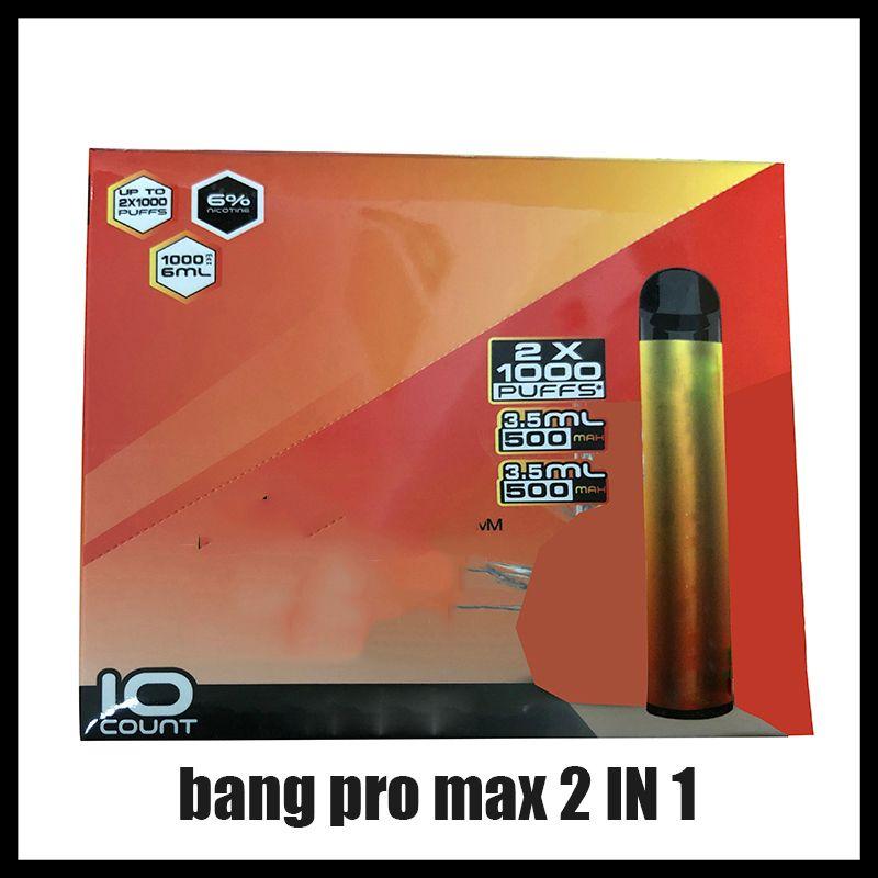 새로운 Bang Pro Max 스위치 일회용 vape 펜 2 in 1 장치 7ml 포드 2000 퍼프 뱅 Xxtra 더블 1100mAh 배터리 vape 빈 펜 대 퍼프 xxl