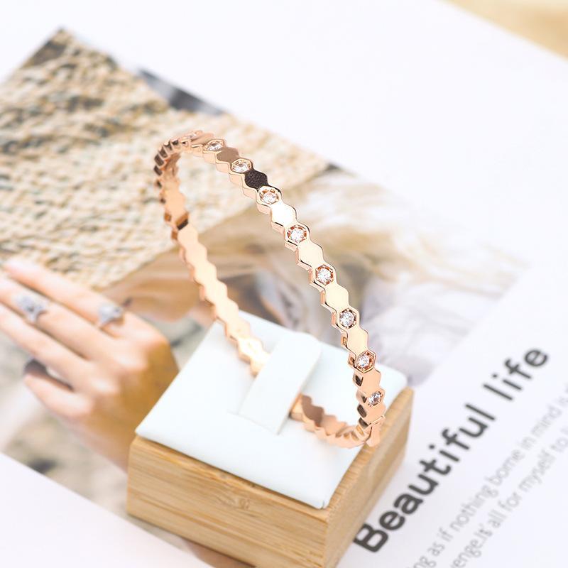 Simple and narrow designer bracelets stainless steel love bracelet ring jewelry bangles Inlay diamond bracelet accessories