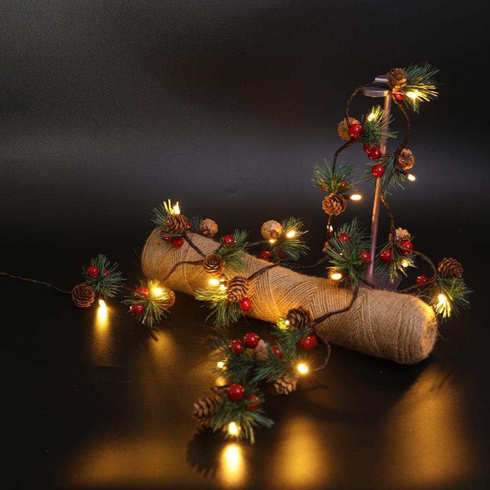 2021 Новый 2M 20LEDS сосна Cone Fariy String Acatable Actived DIY Свадьба Рождественские Украшения Гирлянда Светильника Отпускные Огни Огни RBZD
