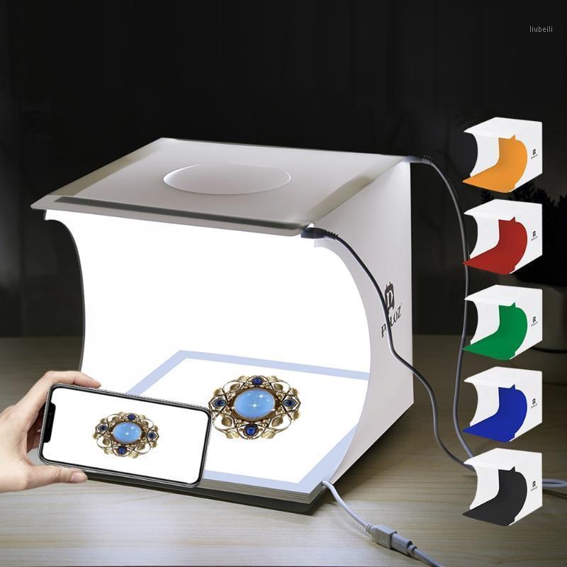PULUZ 20cm Mini 2 LED Panels Photo Box Studio Shadowless Light Lamp Panel Pad+Studio Shooting Tent White Light Box Tent Kit1
