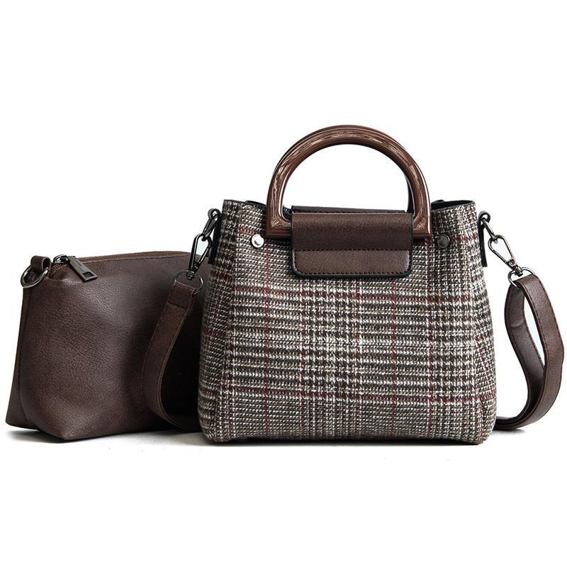 2 taschen damen designer handtasche 2021 mode neue frauen tasche hochwertige wolle streifen frauen tasche taschen mädchen schulter umhängetasche