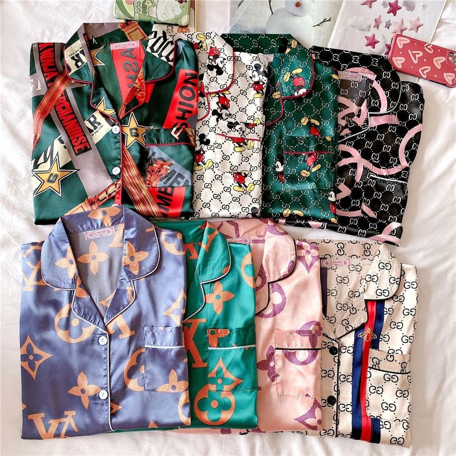 Womens cetim seda pijama casal conjunto flor impresso sleepwear 2020 outono inverno plus tamanho nightwear calças 2 peça sexy casa terno rosa st # qa42154654