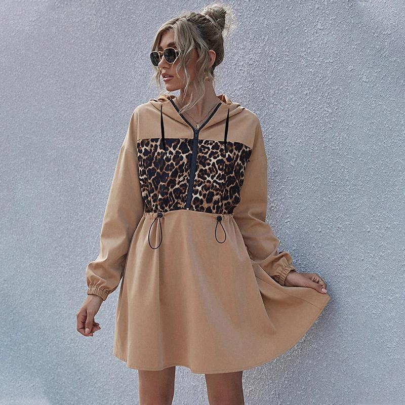 Abiti con cappuccio casual donna autunno inverno inverno femmina leopardo stampato con cappuccio vestito 2020 A-line cuciture signore vestito allentato vestidos # XQ3A