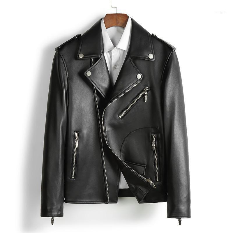 The new 2020 locomotive leather leather handsome male haining sheep motorcycle suit men's jacket1