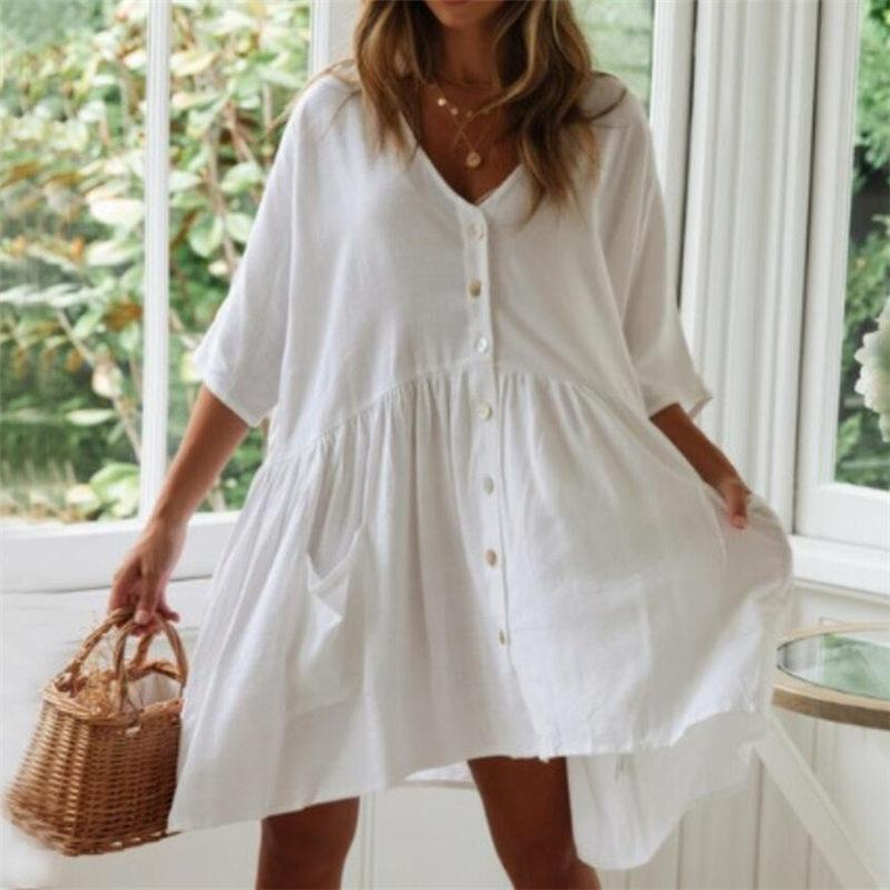 2021 Casual Summer Beach Robe Blanc Coton Tunique Femmes Beachwear Cover-ups Plus Taille Sexy Pareo Robe Sarong Plage N771 F0122