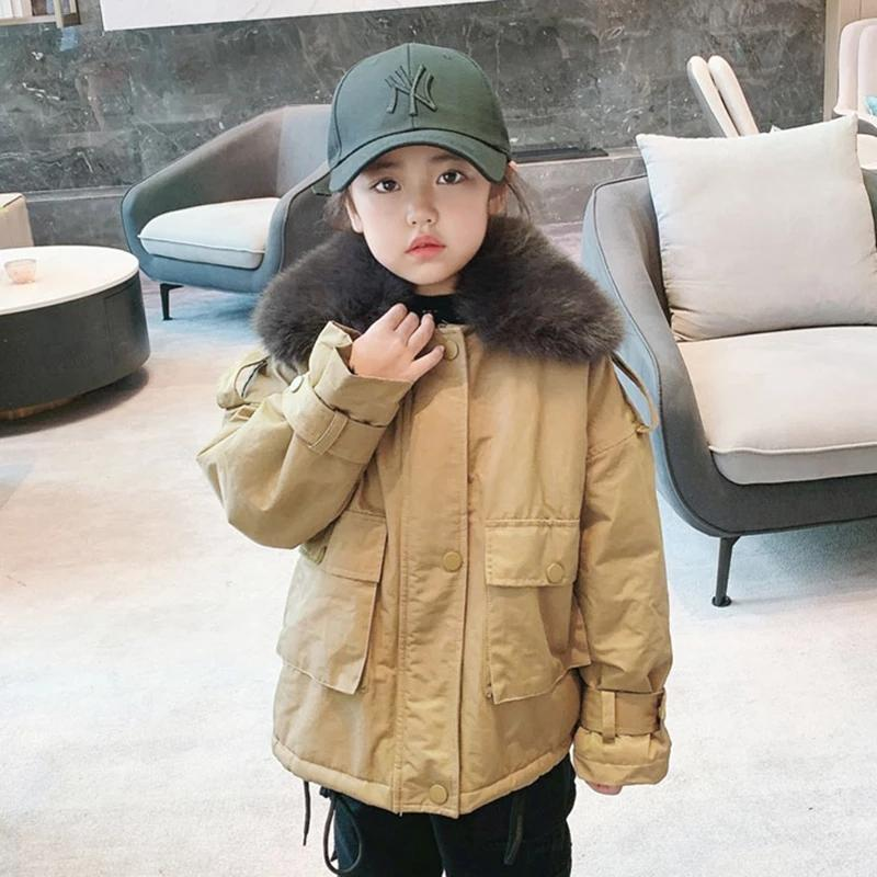 -30 درجة الروسية طفل الفتيات معطف دافئ الشتاء ستر أبلى الزي الأطفال أطفال فتاة الفراء مقنع الملابس لمدة 6 8 سنوات