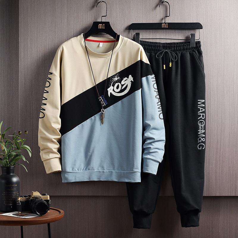 2020 Set di caduta di primavera di felpe con cappuccio a righe + pantaloni Suit Relo