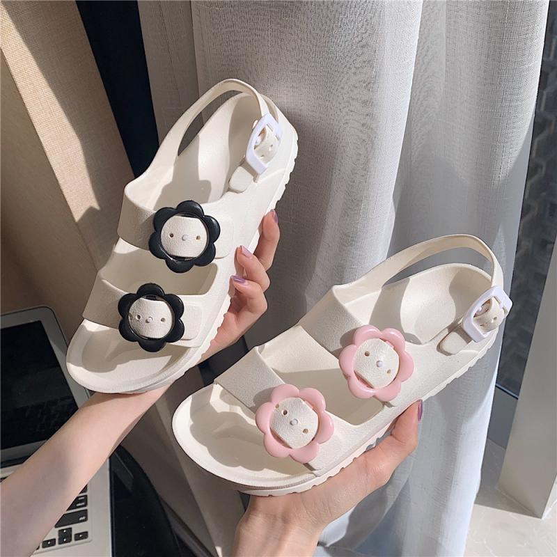 حار بيع البلاستيك جيلي أحذية النساء الصيف الصنادل الشقق زهرة الأحذية البيضاء 2021 جديد أنثى الشقق الصنادل الأحذية J1208