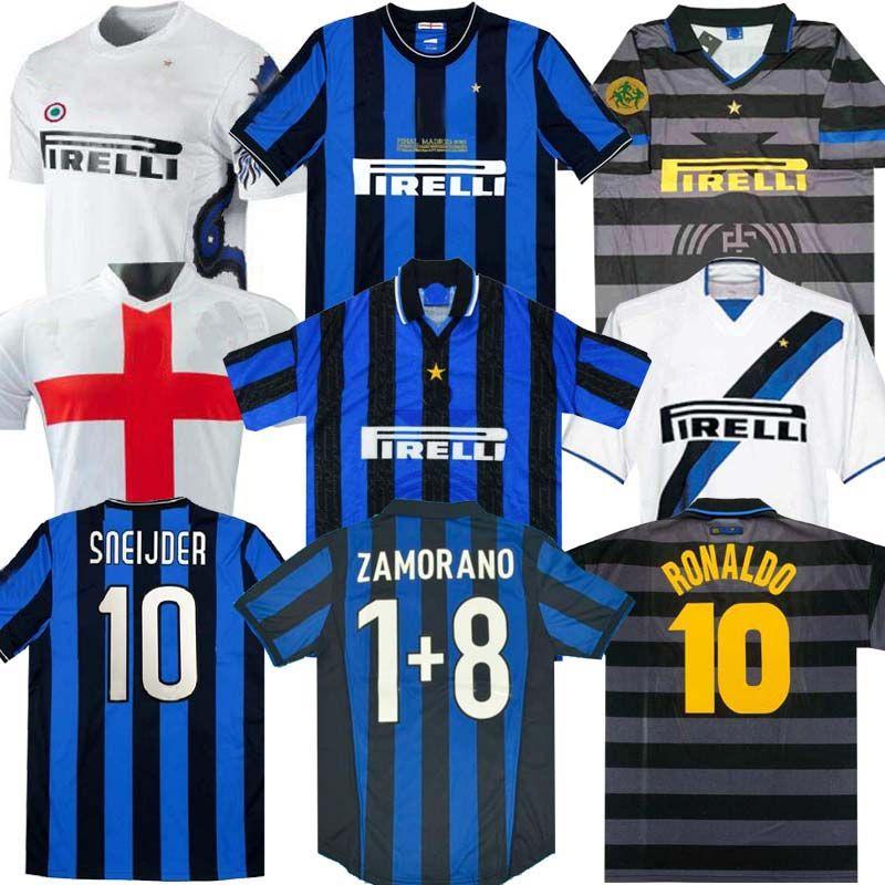 Finales 2009 2010 Milito Sneyjder Zanetti Milán Retro Jersey Jersey Pizarro Fútbol Milán 1997 1998 97 98 99 Djorkaeff Baggio Ronaldo 02 03