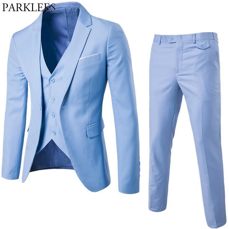 Light Blue Business Mens Trajes de 3 piezas de 3 piezas (chaqueta + pantalones + chaleco) TUXEDOS DE BODA PIERNOS PIERNOS FORMALES PARA HOMBRES TERNO MASULINO