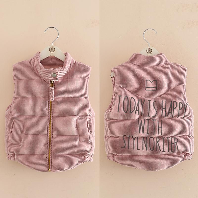 3-8 10 12 anos colete meninas inverno infantil tops carta tudo jogo zipper engrossar algodão acolchoado sem mangas jaqueta colete para menina 201110