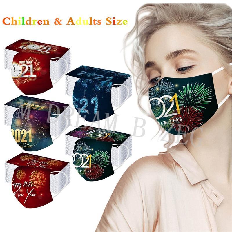 2021 Wegwerfmaske Weihnachtsgesichtsmaske Dekorationen Designer Masken Gesichtsmask Masque Party Masken 3-lagige staubdichte Maske Frohes neues Jahr