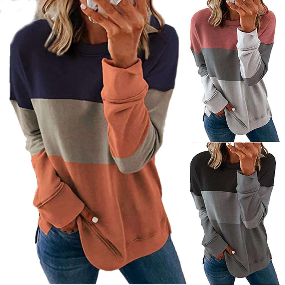 2020 new stitching contrast round neck long sve casual loose women's sweater