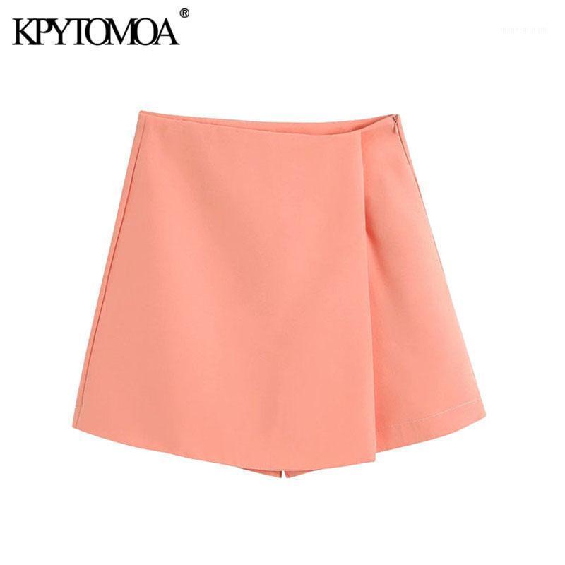 Pantaloncini da donna Kpytomoa Donna 2021 Chic Fashion Uso Uso Abbigliamento Asimmetrico Mini Gonna Vintage Vintage Laterale Side Zipper Skurt Mujer1