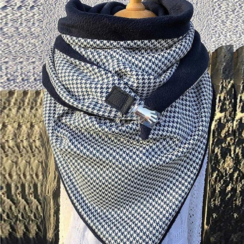 Women Fashion Print Fashion Printing Button Soft Wrap Casual Warm Scarves Shawls Keep warm Scarves Wraps