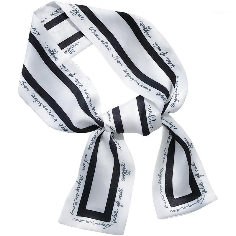 Sciarpa di seta della simulazione del nastro della moda delle donne Bellissimo design solido Girl Sciarpa Capelli Band Borsa Maniglia Avvolto Piccolo Colletto B1