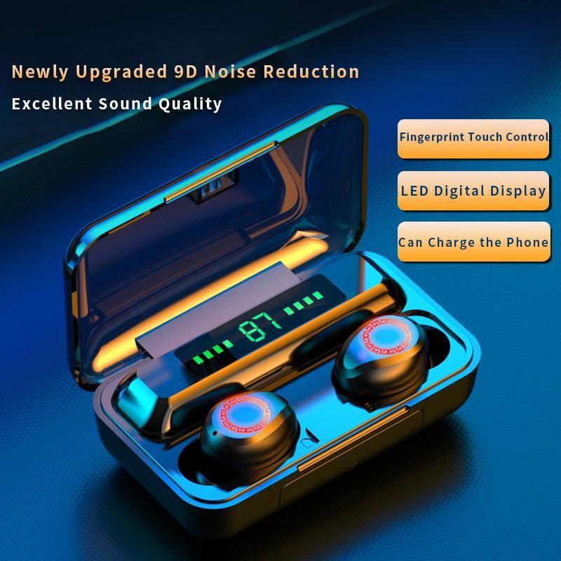 spor için yepyeni F9 TWS Kablosuz Kulaklık Bluetooth5.0 kulaklık HiFi IPX7 Su geçirmez kulaklıklar Dokunmatik Kontrol Kulaklık
