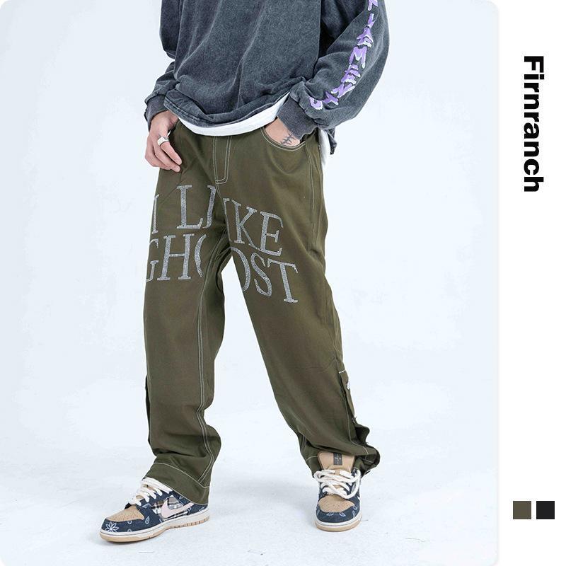Erkek Kot Firma Güz / Kış Erkekler / Kadınlar Mektup Ütü Matkap Gevşek Düz Jean Pantolon Hip Hop Street Giymek Uzun Pantolon Tüm Maç Slacks