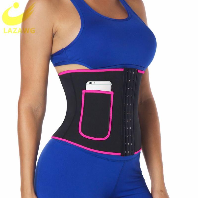 LAZAWG taille formateur Trimmer ceinture pour les femmes en néoprène Sweat Belly Sauna Tummy Control Body Shaper Top Minceur Corset Pocket