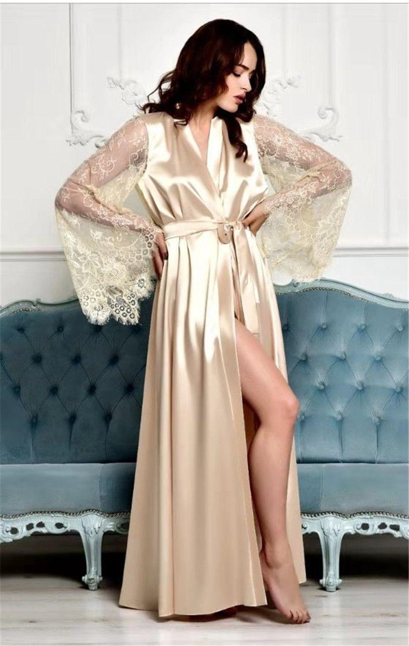 2021 Nouveautés Arrivées Womens Dentelle Nightgowns V Cou Sleep Keightshirts Sleepwears Plus Taille Sexy Perspective Home Vêtements