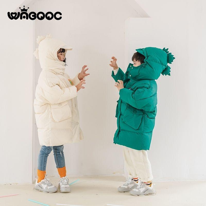 Novo inverno infantil para baixo jaqueta meninas dinossauro design mornos crianças vestem garotas chapéu removível 2-3-8 anos grosso casaco longo y200901