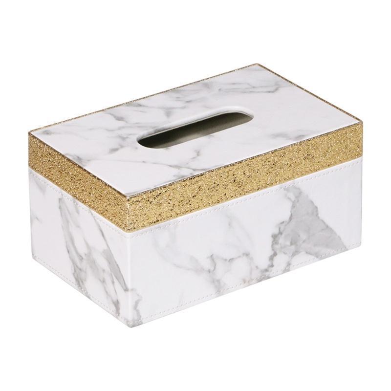 PU Mármore Golden RIM RIM caixa de desktop papel toalha titular de toalha de armazenamento de guardanapo para escritório em casa