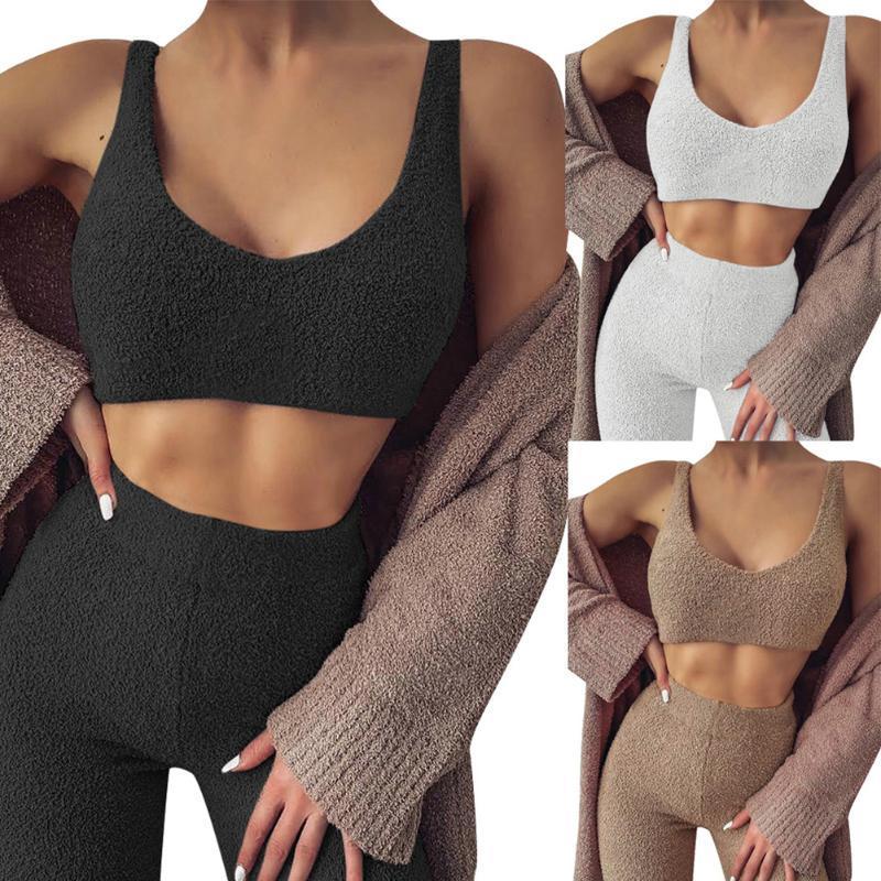 Pijamas Mujeres 2 piezas Velvet Sleepwear Traje Gimnasio Fitness Ropa Set V Cuello Sin mangas Top Top + Pantalones largos Caída Casual Traje