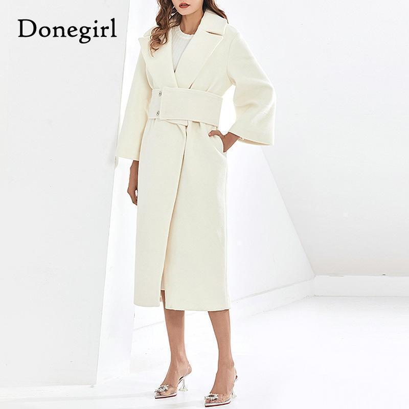 Женская шерсть смешивает высококачественный кашемир зимнее шерстяное пальто для женщин бежевый цвет Корейский простые длинные пальто женские верхние одежды Sashes1