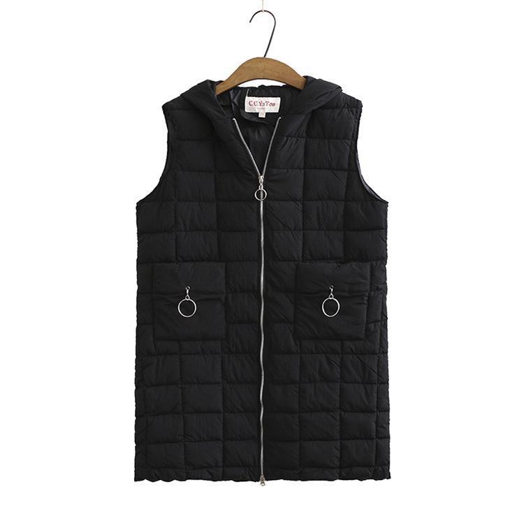 Fille Automne 2020 Mode Parka de poche pour dames sans manches avec hotte chaude Vest 63B8