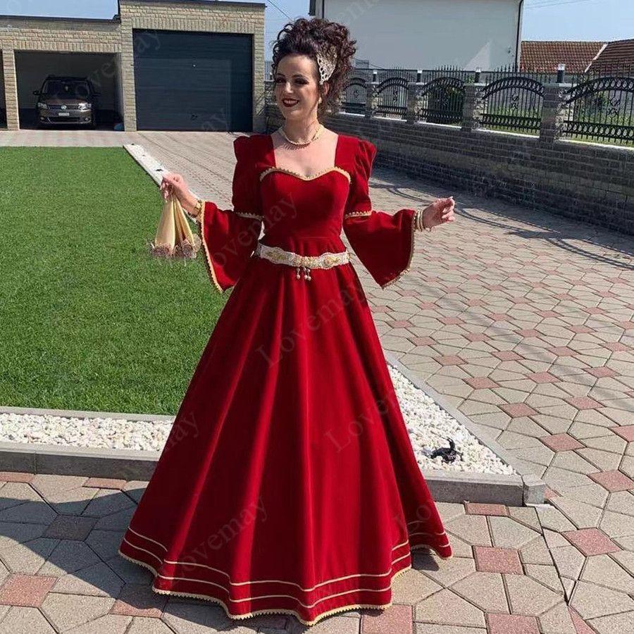 Robes de soirée marocaine rouges dentelle dentelle d'or appliques arabe Dubaï occasion spéciale robes de manches longues promenades