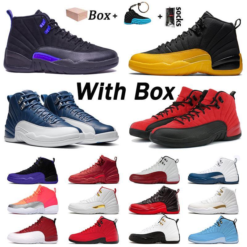 retro 12 stock x  박스 공기는 농구 신발 (12) 스톤 블루 12S 대학 골드 새틴 망으로요르단레트로 OVO 체육관 불스 FIBA 주식 운동화 트레이너 X