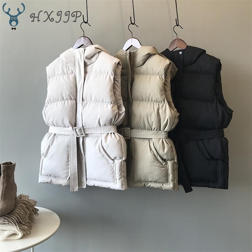 HXJJP Frauen Winterjacke Tasche Mit Kapuze Mantel Warm Casual Baumwolle Gepolsterte Weste Weibliche Slim Sleeveless Weste Gürtel Auf Lager 201215