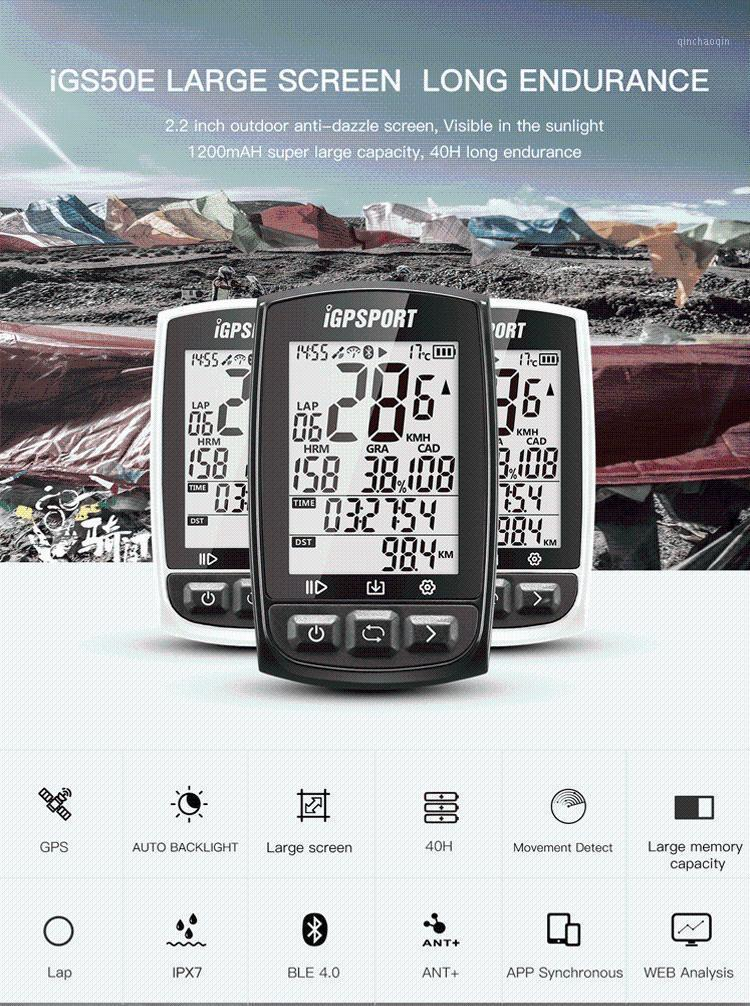 iGPSPORT Cycling Computer Waterproof IGS50E ANT+ Wireless GPS IPX6 Digital Speedometer Bluetooth 4.0 Backlight Bike Computer1