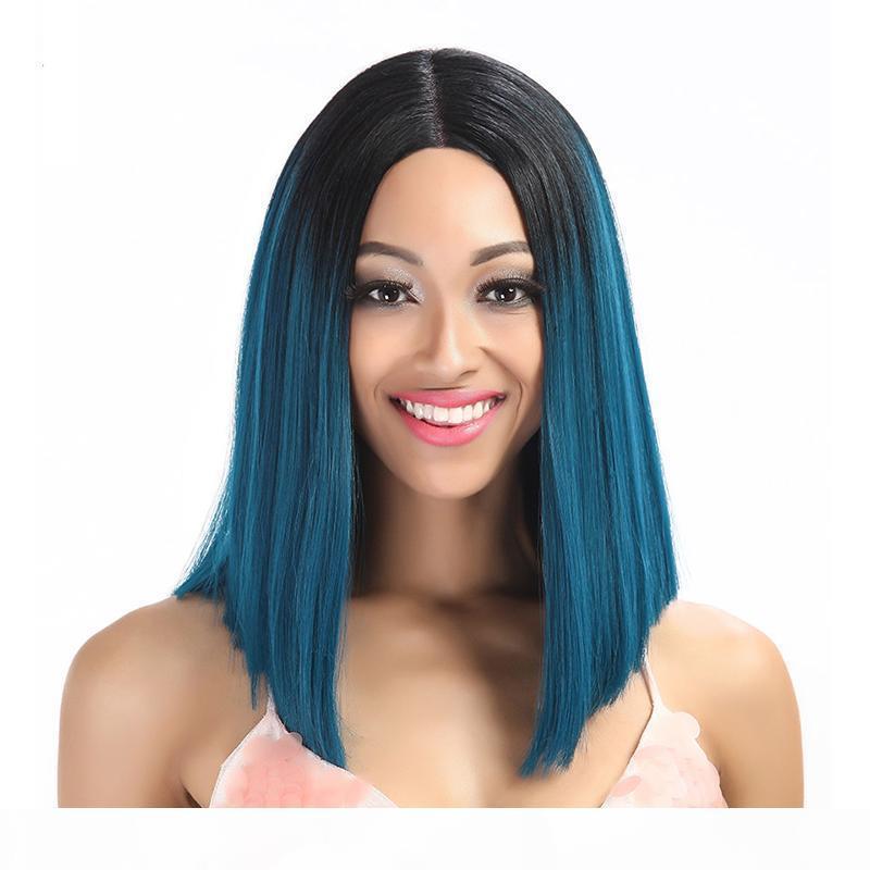 Sintético Ombre de encaje Frente de encaje Color azul para las mujeres negras Resistente al calor Ombre azul Pelucas sintéticas de alta temperatura de fibra con cabello bebé