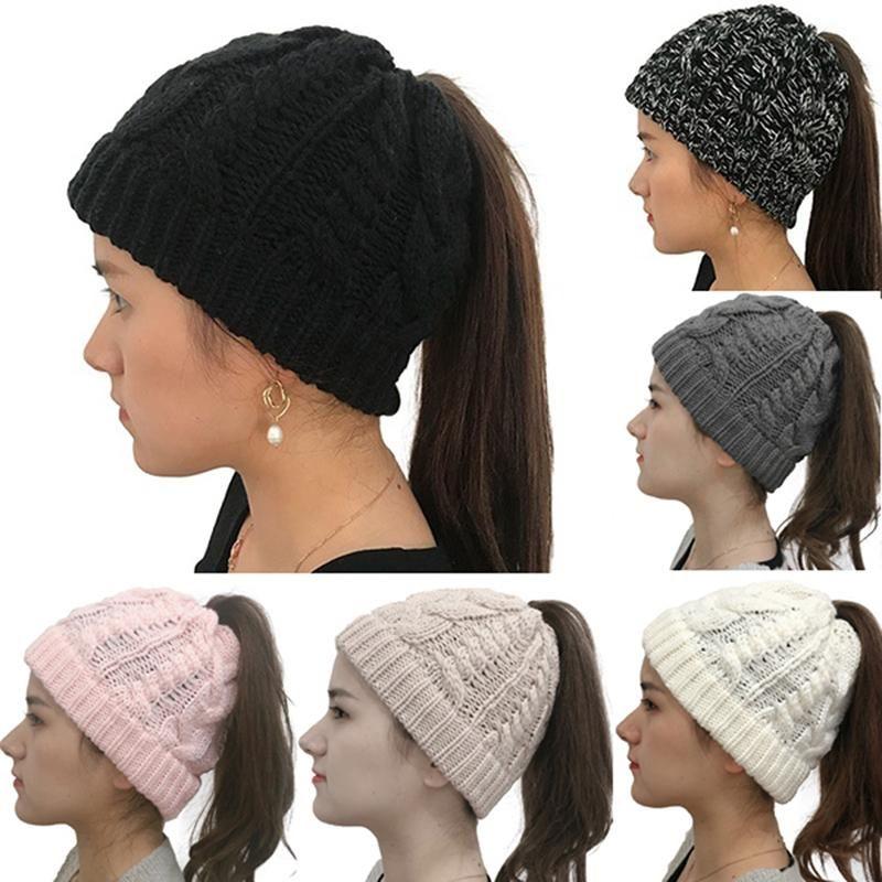 Winter Knitting Hats Winter Women Hat Ladies Girl Stretch Knit Hat Messy Bun Beanie Holey Warm Hats Caps