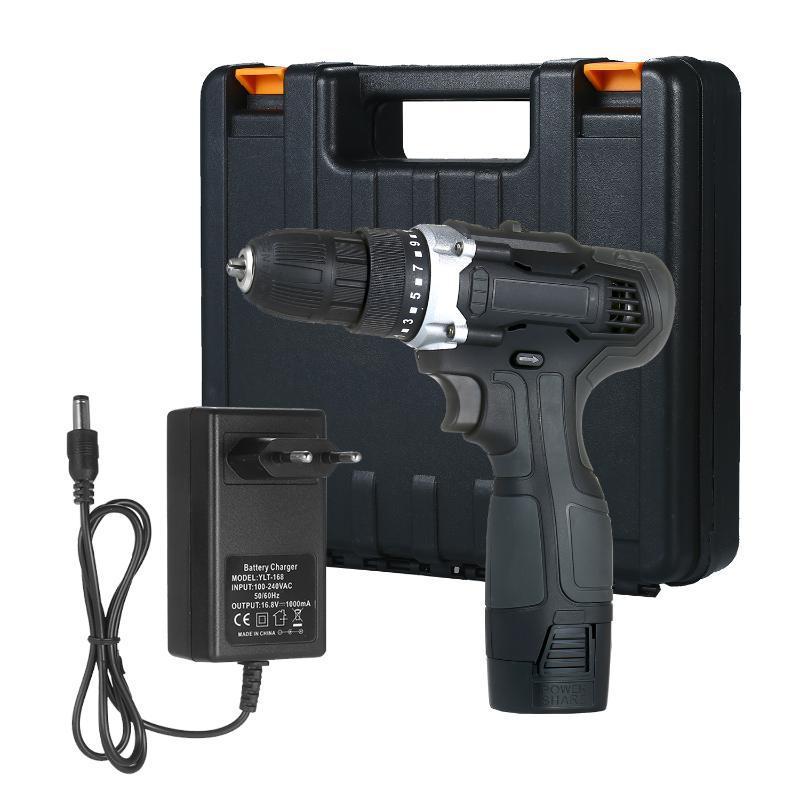 18V 2-Gang-Akku-Bohrer 2 Batterien Schnelles Ladegerät 50NM Drehmomentvariable Geschwindigkeit Kompakt 15 + 1 Kupplung max Elektrobohrer