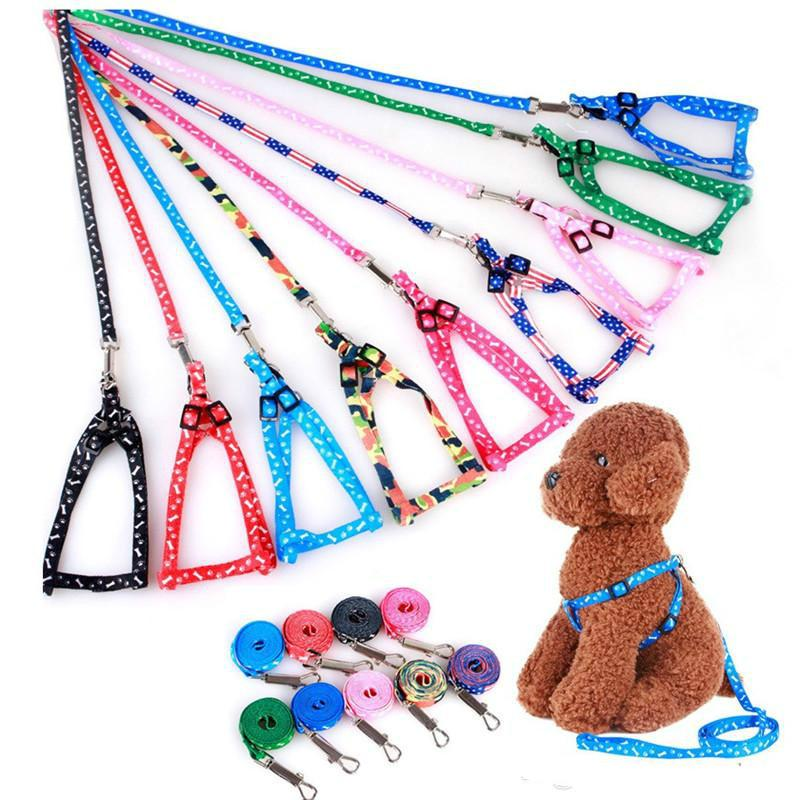 Fournitures pour animaux de compagnie Harnais de chien Laisses Nylon imprimé Réglable Pet Collier Chiot Cat Traction Collier Collier Collier