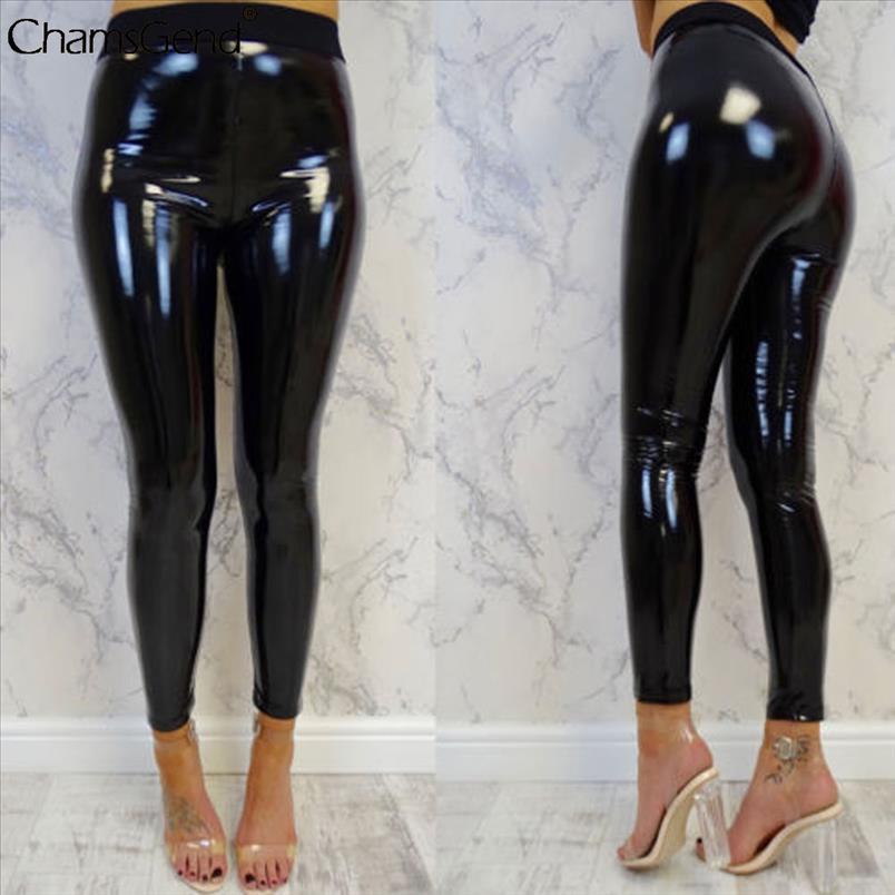Womens sexy schwarze hohe Taille hosen schlank weicher strethcy glänzend nass sehen faux leder vinyl leggings hosen hosen pantalon femme
