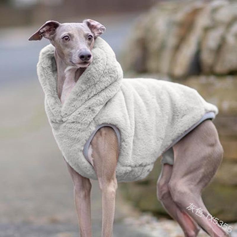 Pet Hunde Pure Farbe Kleidung Zubehör Winter Hoher Kragen Plüsch Zwei Fuß Halten Sie Warme Hundekleidung 2020 23 By J2