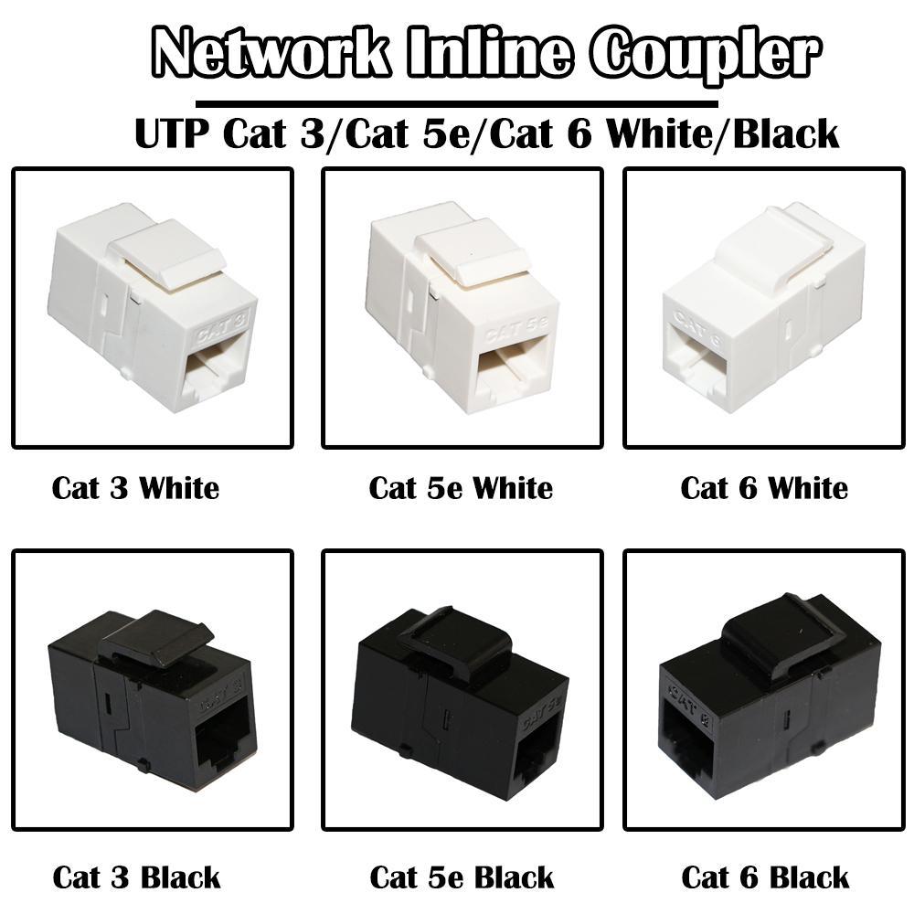 50 peças em rede acoplador inline para cabos de computador Conector Cat 6 / 5E / 3 Branco cor preta fluke passou